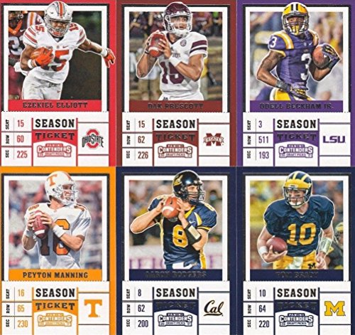 2017 Panini Contenders Draft Picks Season Ticket NFL Football Complete Mint Basic100 Card Set with Tom Brady Peyton Manning Joe Namath Dak Prescott and other Stars and Hall of Famers pictured in their College Uniforms