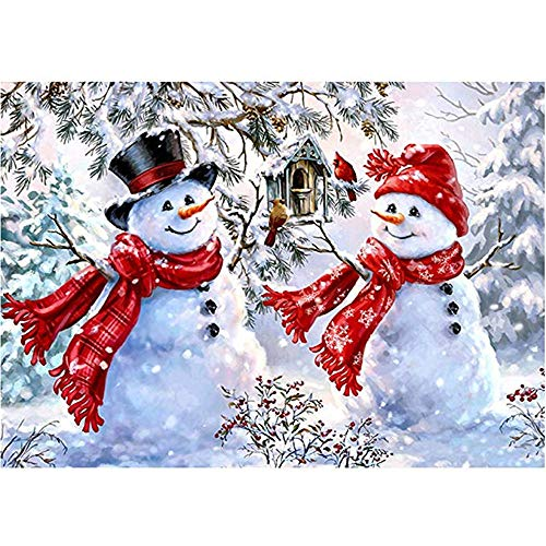 Diy5D Diamond Painting Digital Set, Full Diamond Rhinestone Embroidery Art Craft Canvas Home Wall Decoration - Merry Christmas Snowman, 11.8 X 19.7 Inch