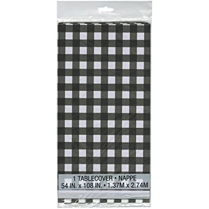 Black And White Checkered Plastic Tablecloth, 108u0026quot; ...