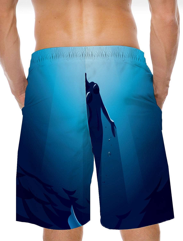 Voguard Mens 3D Printed Swim Trunk Summer Beach Shorts with Elastic Waist Drawstring