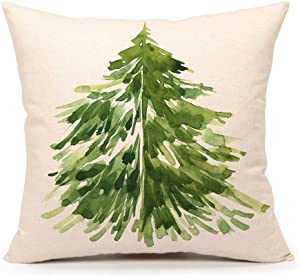 "4TH Emotion Watercolor Christmas Tree Throw Pillow Cover Cushion Case for Home Decor Sofa Couch 18"" x 18"" Inch Cotton Linen Farmhouse Christmas Decorations"
