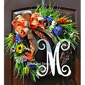 Handmade Front Door Monogram Wreath with Your Choice of Monogram and Bow with Wildflowers and Poppies in Blue, Yellow, and Orange in 20 inch Diameter 1