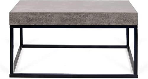 Temahome Petra 30X30 Coffee Table, Concrete Look Top Black Legs