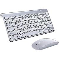 Flameer Conjunto De Teclado E Mouse Sem Fio Com Receptor USB Combo Set 2.4G - Prata