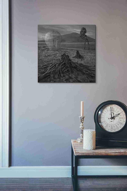 26 x 26 Epic Graffiti Meeting with Faun Giclee Canvas Wall Art Grey