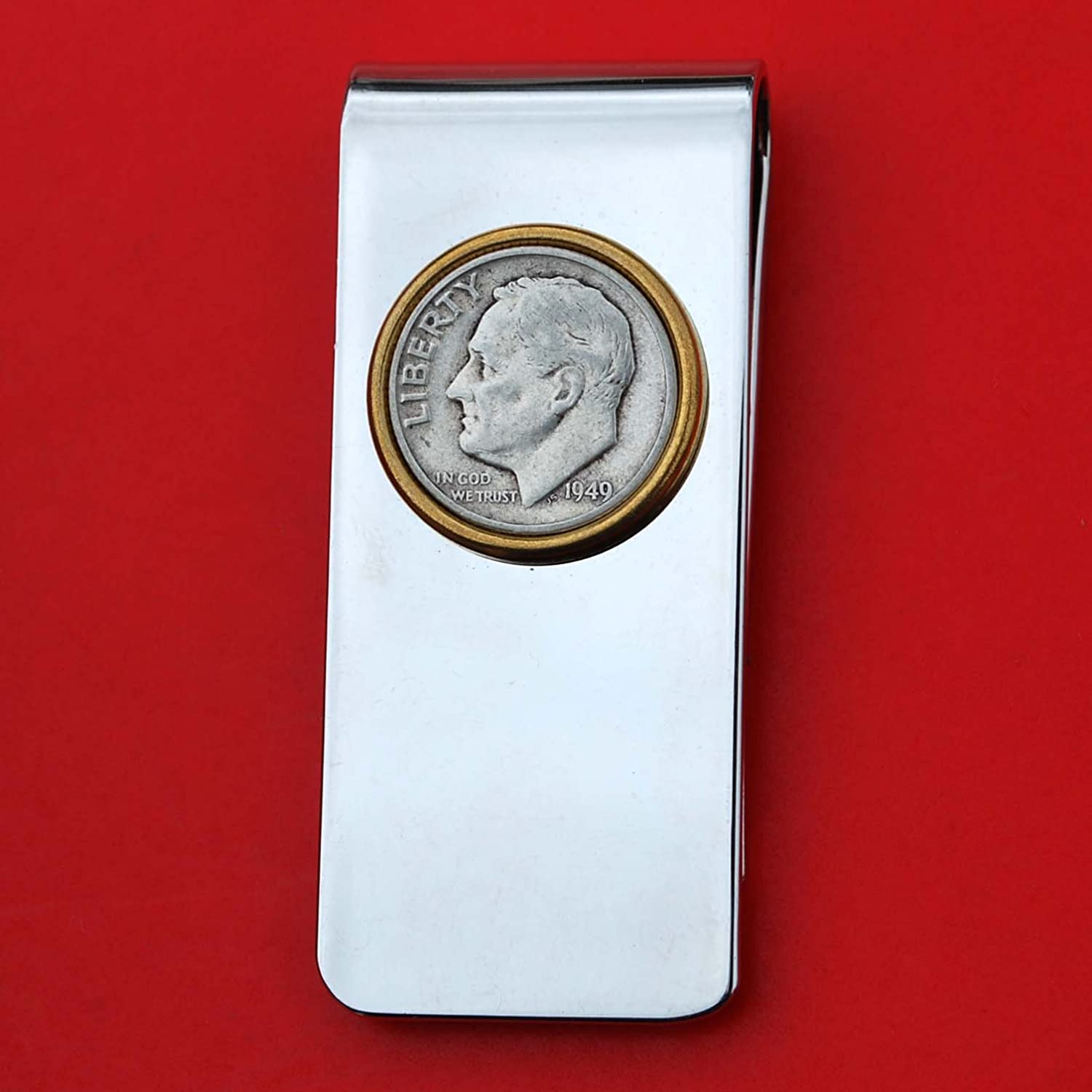 US 1949 Roosevelt Dime 90% Silver Coin Solid Brass Gold Silver Two Tone Money Clip New - High Quality