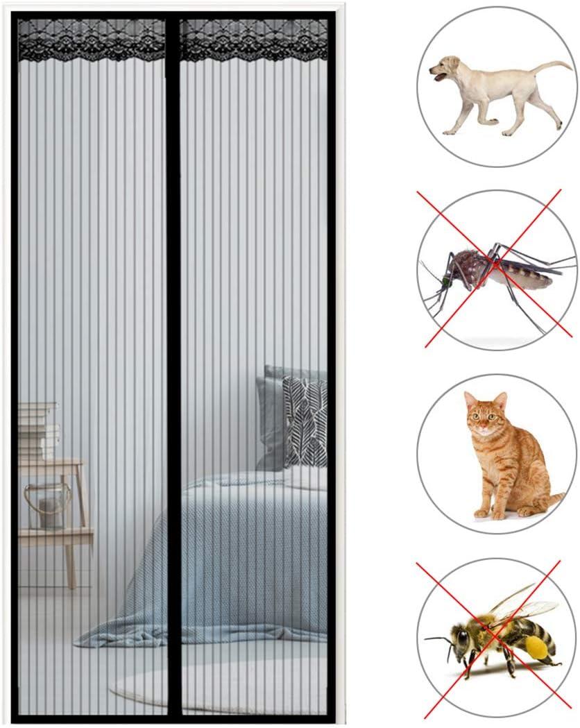 Aibingbao Fliegengitter T/ür Moskitonetz T/üR Fenster Terrassent/ür Insektenschutz Klebemontage f/ür Schlafzimmert/üren Balkont/üren 30x83inch Schwarz 75x210cm
