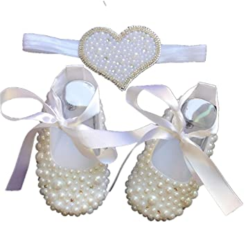 Dollbling Adorable Handmade Christening White Pearls Rhinestones Bottom Baby  Fantasy Crib Shoes and Pearl Heart Headband 2bbc82bbc8a0