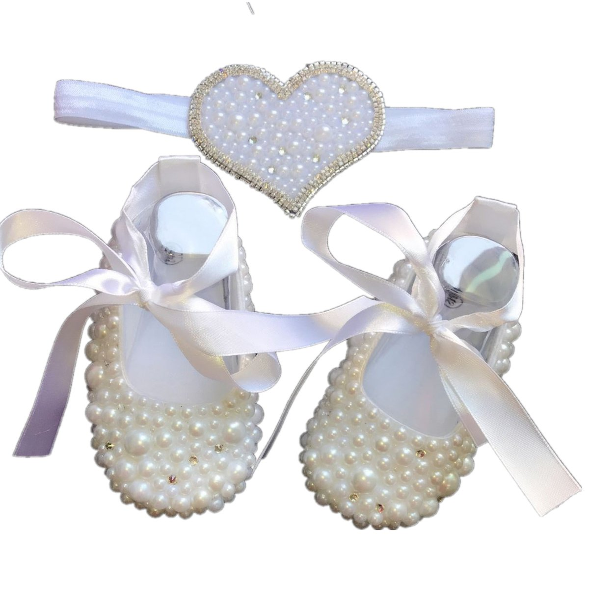 Dollbling ADORABLE Handmade Christening White Pearls Rhinestones Bottom Baby Fantasy Crib Shoes and Pearl Heart Headband set, Baby Keepsakes Birthday Gifts (0-6 Months)