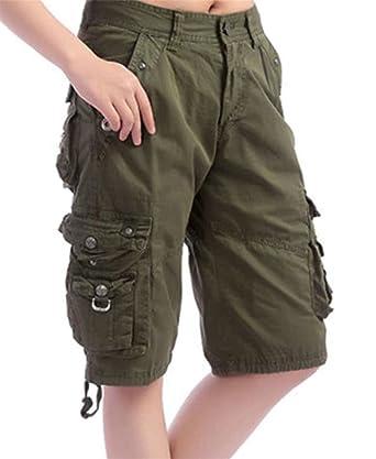 b91d52a629 JSY Womens Bermuda Multi-Pockets Twill Knee Length Cargo Shorts Army Green  XS