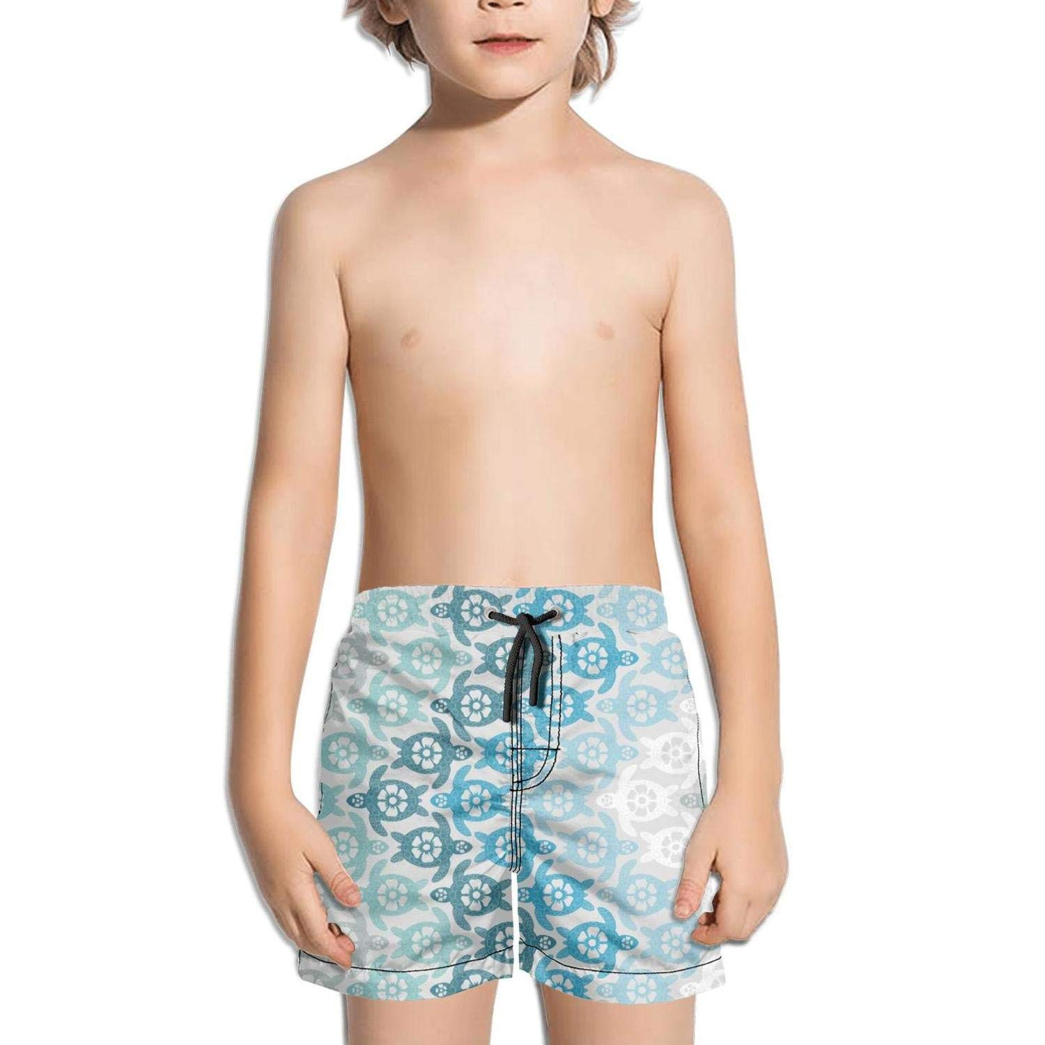 NAIT.2 Shorts Swimming Tucks for Kid Quick Dry Solid Board Sporty Swim Dry Tropical Turtles on Beach Pattern