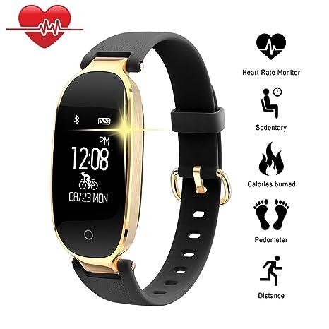 TechCode Relojes Inteligentes, Bluetooth Impermeable Reloj Inteligente Moda Mujer Ladies Monitor de frecuencia cardíaca Fitness