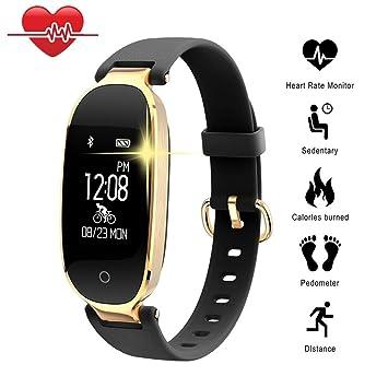 TechCode Relojes Inteligentes, Bluetooth Impermeable Reloj Inteligente Moda Mujer Ladies Monitor de frecuencia cardíaca Fitness Tracker Reloj Inteligente ...