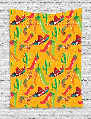 Mexican Decorations Tapestry by Ambesonne, Elements with Cactus Hat Chili Pepper Pattern over Grunge Background Print, Wall Hanging for Bedroom Living Room Dorm, 40WX60L Inches, (Chili Pepper Hat)