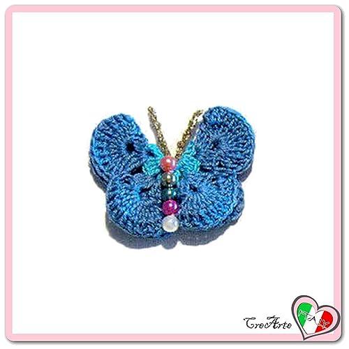 Mariposa azul y turquesa para aplicaciones, broche o imán de ...
