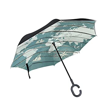 Alaza double layer inverted world map with compass umbrella cars alaza double layer inverted world map with compass umbrella cars reverse windproof rain umbrella for car gumiabroncs