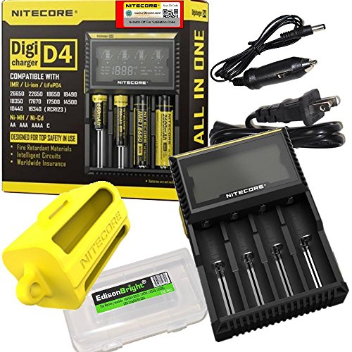 Nitecore D4 digital smart battery Charger for Li-ion Ni-MH Ni-CD with 12V DC Car Adapter, NBM40 18650 battery magazine & EdisonBright Battery Carry Case