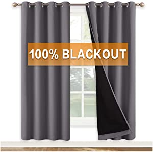 RYB HOME Window Curtains Blackout - 2 Layers Full Room Darkening Curtains for Bedroom, Insulated Heat Cold Panels for Living Room Home Office Kids Nursery, 52 x 72 inches Long, Gray, 1 Pair