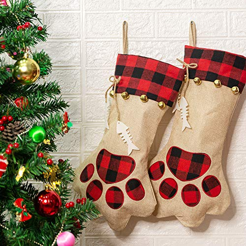 CHERPET Christmas Cat Stocking Hanger – Red&Black Plaid Personalized Burlap Large Cats Paw Stockings Bag with Fish Bone…