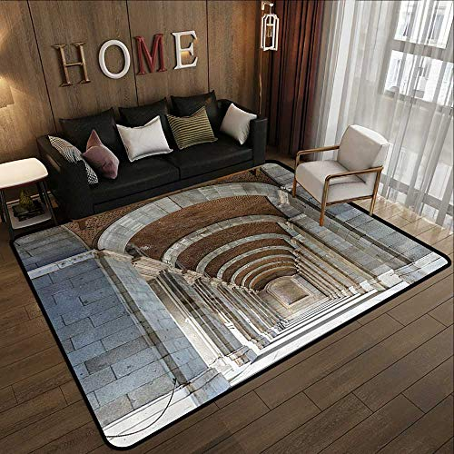 Outdoor Rugs for patios,Apartment Decor Collection,Royal Palace Corridor Madrid Spain Historic Famous European Landmark Facade Picture Print,Gre 55