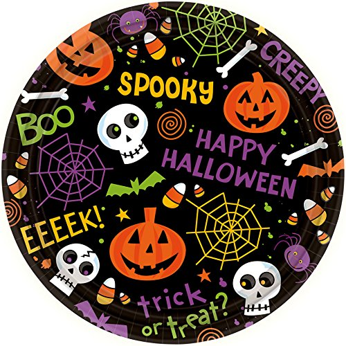 Spooktacular Halloween Gang Disposable Round Dessert Paper Plates, 7