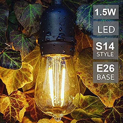 BRTLX S14 LED Edison Filament Bulb,Warm White 2700K,Outdoor Commercial Grade String Lights Hanging Sockets Replacement Bulb
