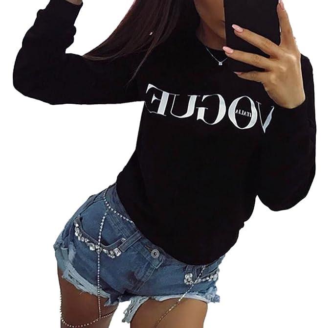 Simple-Fashion Primavera y Otoño Mujeres Moda Slim Carta Impresión Jerséis Jumpers Blusa Casual Cuello Redondo Camisetas de Manga Larga Sudaderas Tops ...