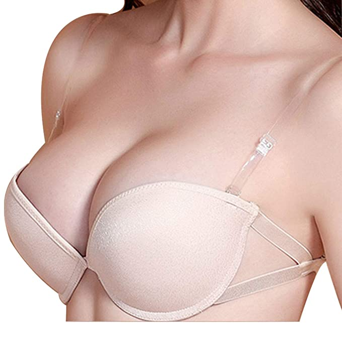 new images of limited guantity many fashionable IFEOLO Women's Strapless Bra Silicone Push up Seamless Invisible Bra Half  Cup Lift Bra for Wedding(Clear Straps Included)