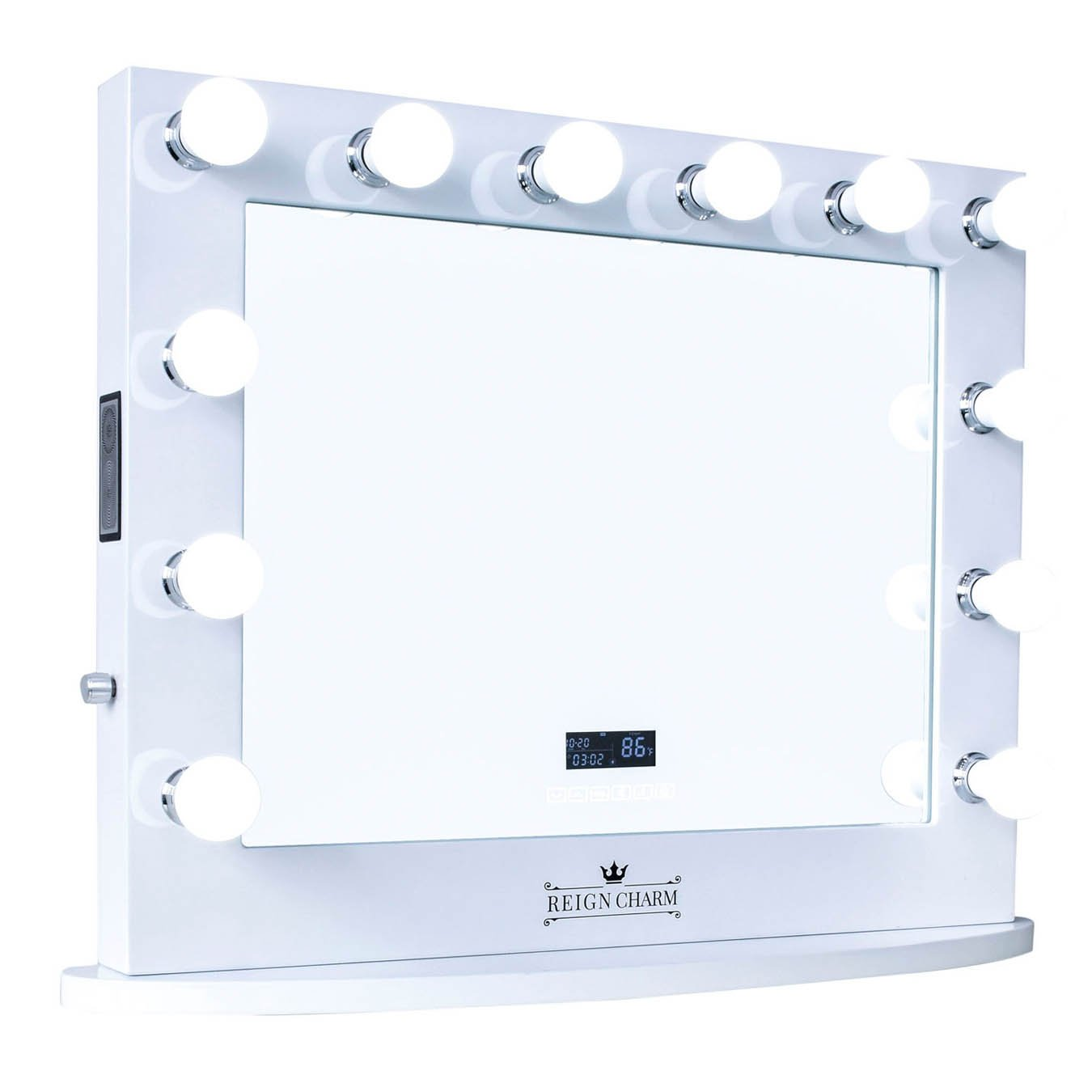 ReignCharm Hollywood Vanity Mirror with BT Speakers, 12 LED Lights, Dual Outlets & USB, 32-inches x 27-inches, White