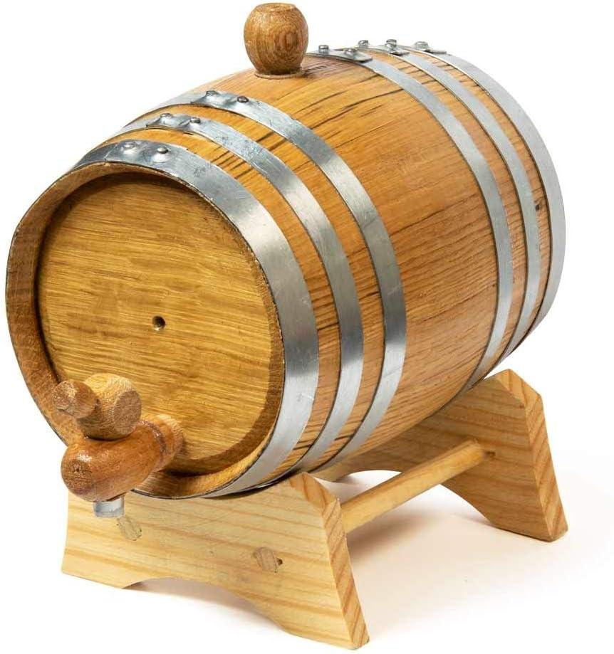Oak Wooden Barrel Storage Holder Aging Wine Whiskey Spirits Cask Jar w// Stand 1L
