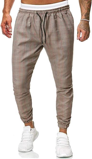 Mens Straight-Fit Stripe Slim Fit Casual Elastic-Waist Breathable Pants