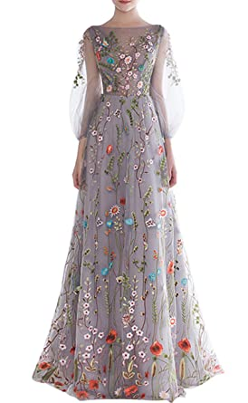 c881d3d178dd kxry Elegant Long Puff Sleeve Evening Dress Floral Embroidery Prom Gown (2)