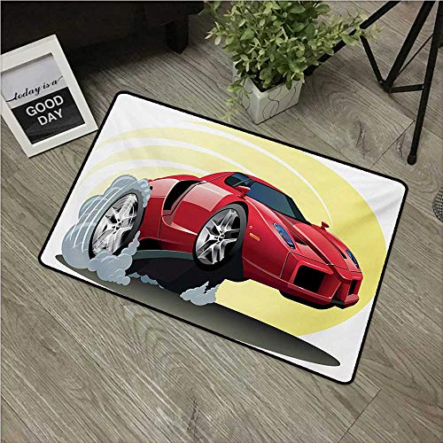 Anzhutwelve Cars,Custom Floor Mat Powerful Cartoon Red Car Speeding Jumping with Smoke Coming Out of Giant Tires W 16