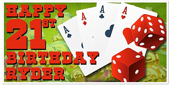 Aces Dice Playing Cards Poker Chips Birthday Banner Personalized Party Backdrop