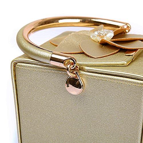 bag bag Gold wallet wedding bucket diagonal evening WUHX flower bag PU bag handbag dinner shoulder bag female evening nCq7waFU