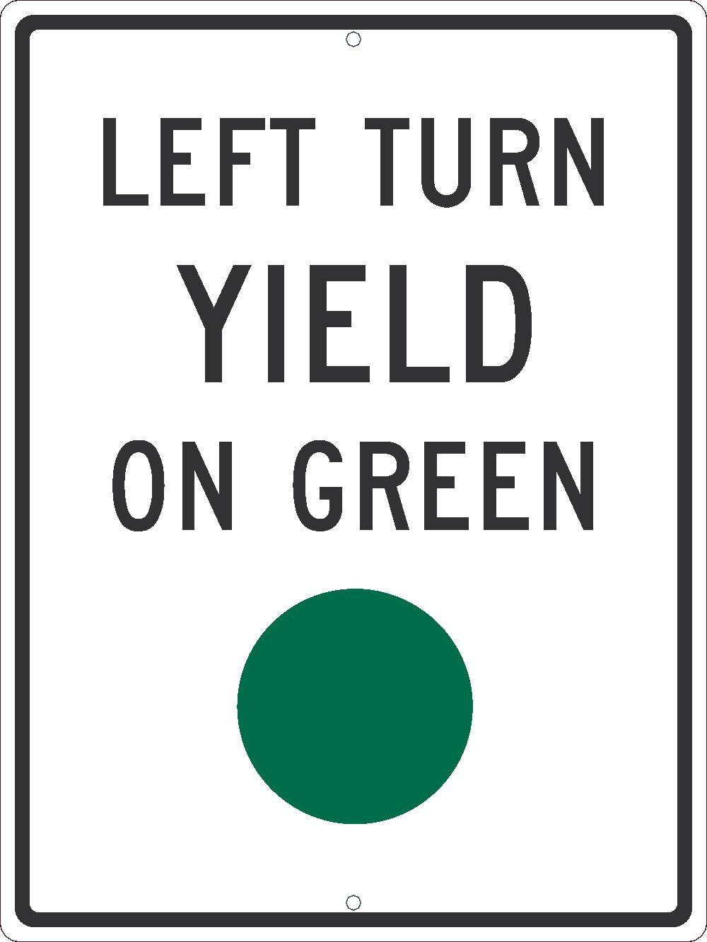 National Marker TM534J Left Turn Yield on Green 24 inches X18.080EGP Ref Alum Graphic Green Dot Sign