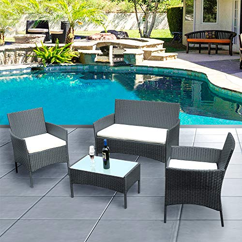 Panana Outdoor Patio Furniture 4 Pieces Rattan Patio Set Wicker Garden Furniture Table and Chairs Conversation Outdoor Black (Furniture Cushion Set Wicker)