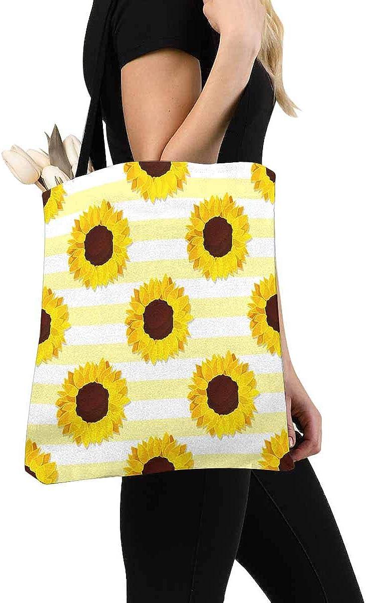 Sunflower Stripes Canvas Tote Bag Handbag Purse for Women