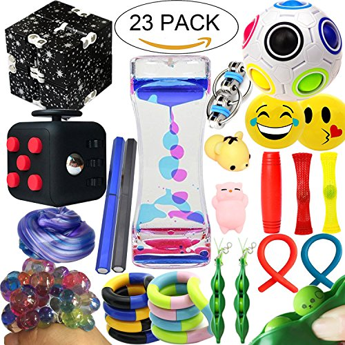 The Ultimate Sensory Fidget Toys Kit 23 Packs Fidget Cube/Slime/Infinity Cube/Liquid Motion Bubbler/Squishy Ball/Squeeze Bean/Rainbow Magic Balls/Twisted Toy For Kids&Adult Add Adhd Stress Relax Prime