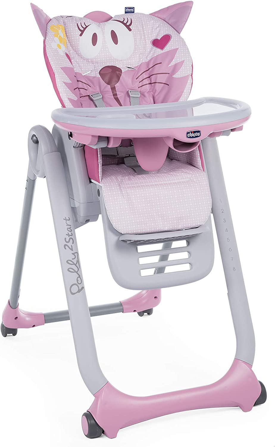 Chicco Polly 2 Start Compact Transformable High Chair and Hammock with 4 Wheels and Brakes for 0 3 Years Cat Miss Pink