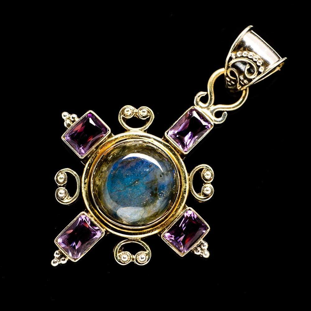 - Handmade Jewelry Amethyst Pendant 2 1//4 925 Sterling Silver Bohemian Vintage PD701258 Ana Silver Co Labradorite