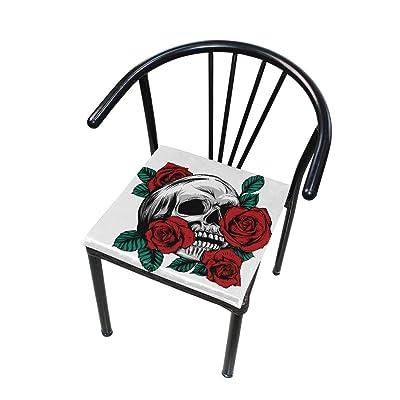 Bardic FICOO Home Patio Chair Cushion Vintage Skull Rose Flower Square Cushion Non-Slip Memory Foam Outdoor Seat Cushion, 16x16 Inch: Home & Kitchen