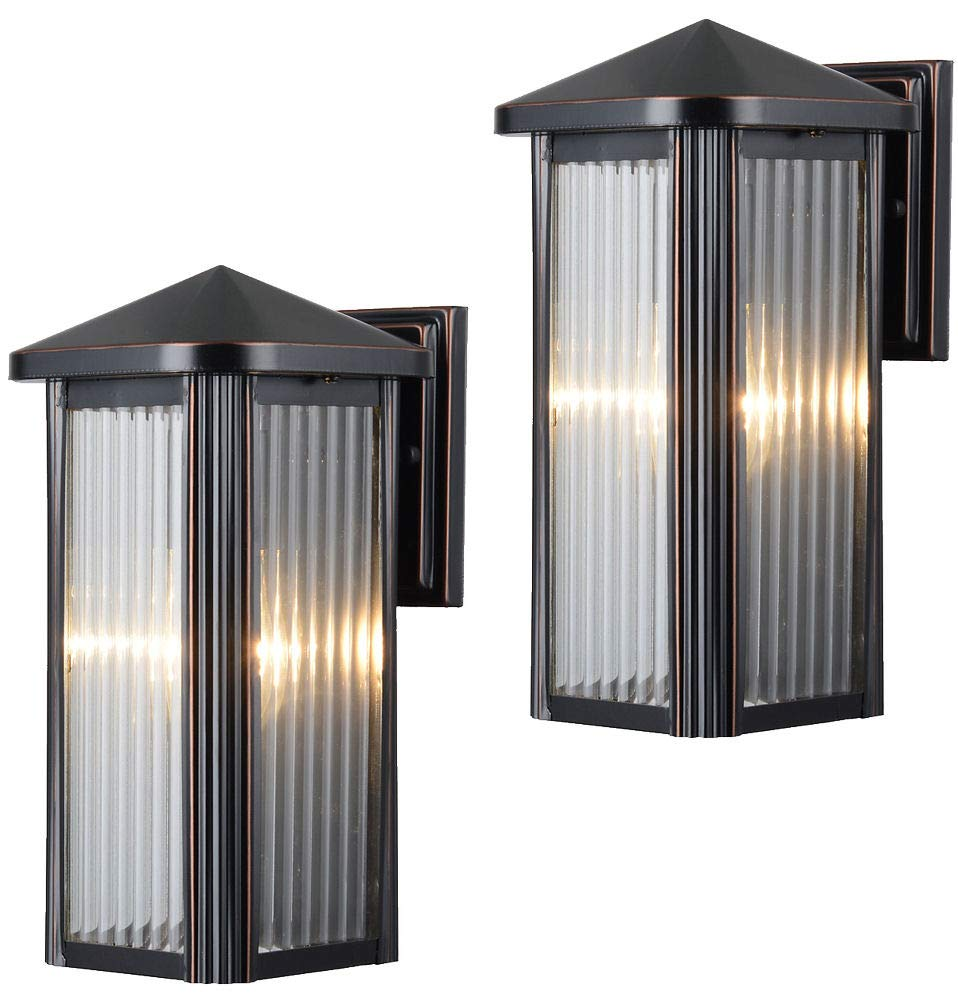 Hardware House 230742 12-1/2-by-6-Inch Aluminum Outdoor Light Fixtures, Oil Rubbed Bronze - Twin Pack