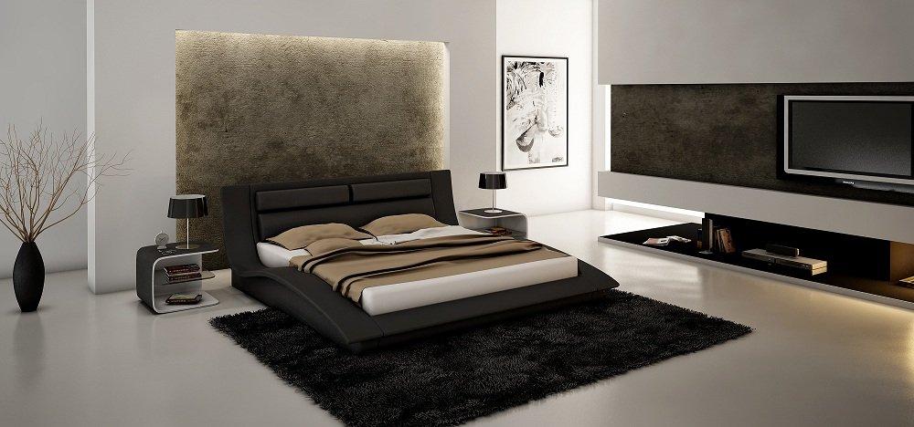amazoncom ju0026m furniture wave black white leather u0026 lacquer queen size bedroom set kitchen u0026 dining