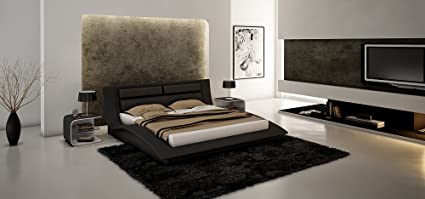 Amazon Com J M Furniture Wave Black White Leather Lacquer Bedroom
