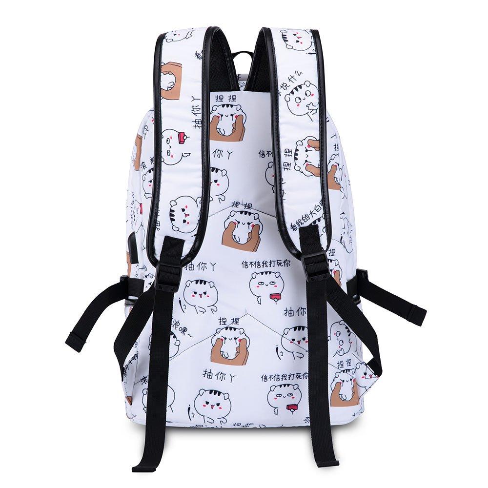 wewo Sac /à Dos /Étudiants Cartable Filles Ecoles Sac Ecole Nylon Sac De Livre /Étanche Sacs d/École College Bookbag Teenager USB Daypack Femme Backpack DOrdinateur Grau