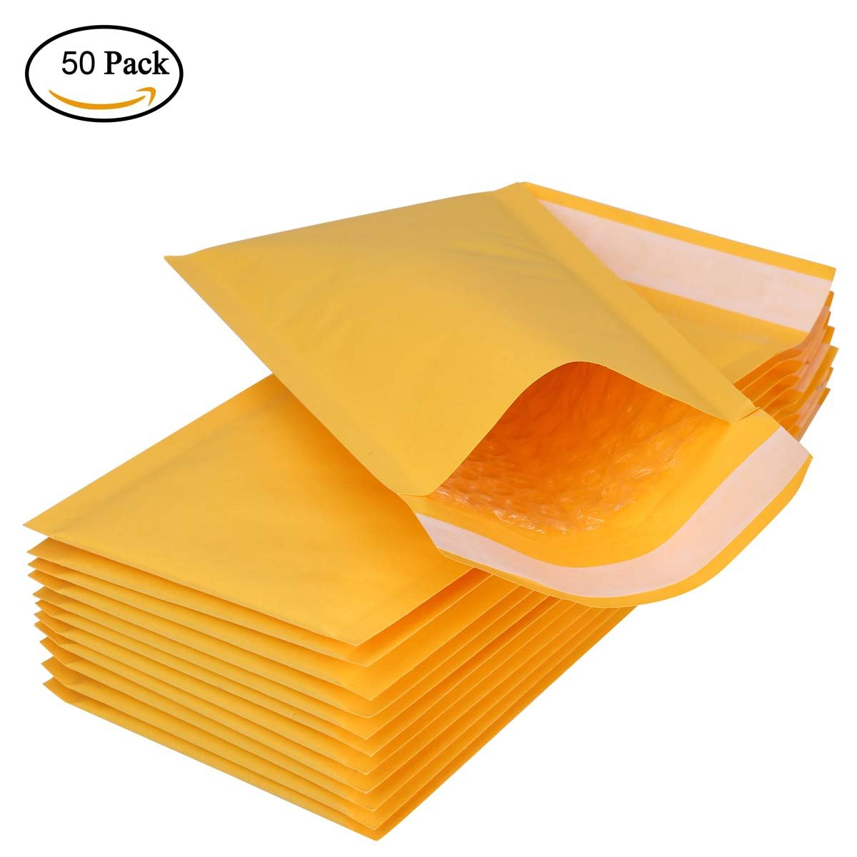 50 pcs Packaging Supplies Kraft Bubble Mailers Envelopes Plastic Mailing Bags 4.3 * 8.3 Inch BTYMS