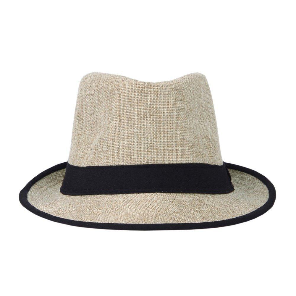 AOBRITON Women Mens Unisex Brim Fedora Cap Summer Beach Sun Hat Straw Chapeu Panama Cap