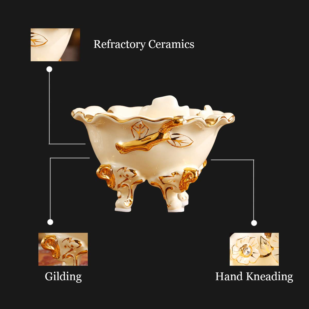 DABENXIONG Ivory Gilded Ceramic Round Cigar Ashtray Antique Indoor Outdoor Patio Use Great Gift DABENXIOING DAB-36-B525