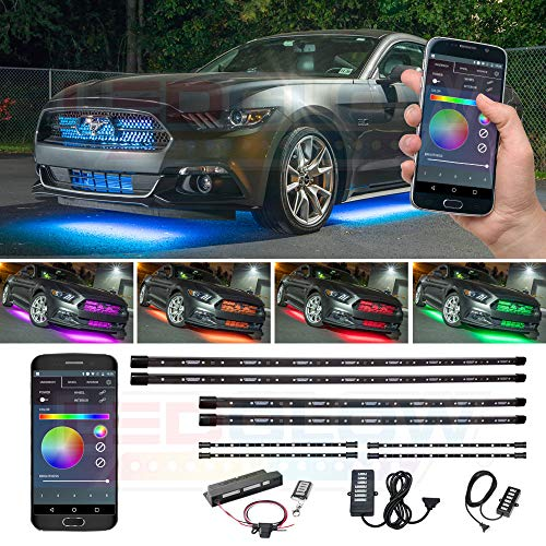 LEDGlow 4pc Bluetooth Million Color LED Underbody Underglow & 4pc Interior Footwell Accent Lighting Kit for Cars - Smartphone App - Courtesy Lights - Create Any Color - Control Box & Wireless Remotes